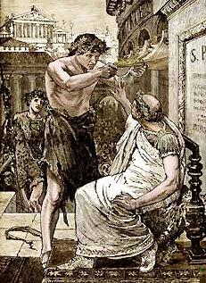 César rechaza (44 A. C.) la diadema que le ofrece Marco Antonio durante las Lupercales, 1894, John Clark Ridpath.
