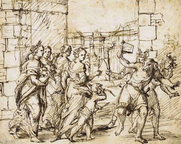 Círculo de Adam Elsheimerː Cupido y personificaciones de la fertilidad encuentran a los Luperci disfrazados de perros y de cabras.